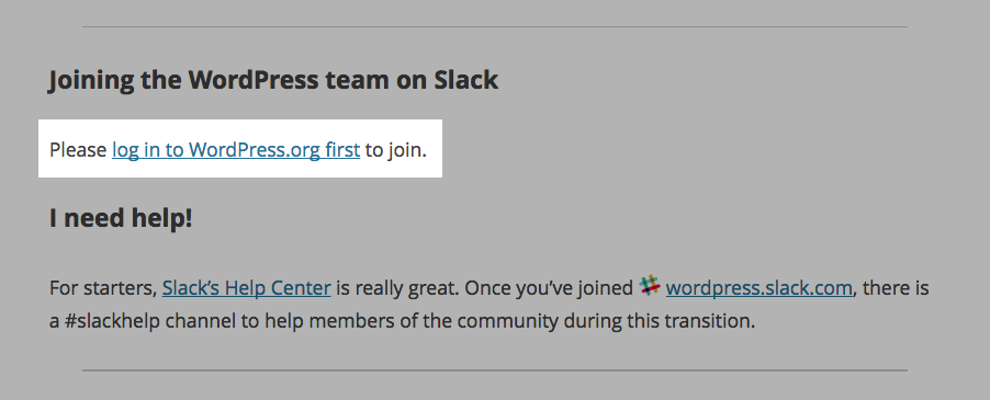 WordPress & Slack: Einloggen bei wordpress.org