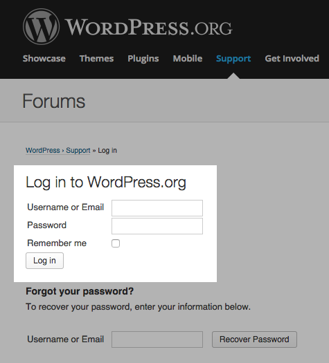 WordPress.org: Login