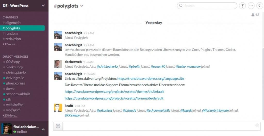 Kommunikation rund um die verschiedenen Meetups, Polyglots und die Redaktion im Slack für den deutschsprachigen Raum. (Screenshot: dewp.slack.com)