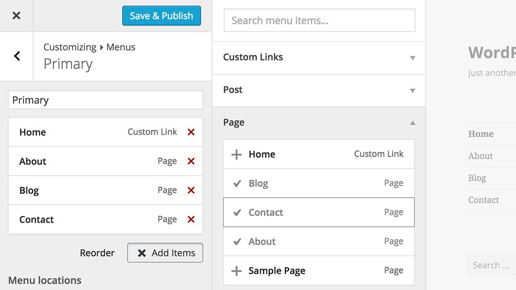 Menüs mit Live-Vorschau bearbeiten ist jetzt auch möglich. (Screenshot: About-Seite von WordPress 4.3)