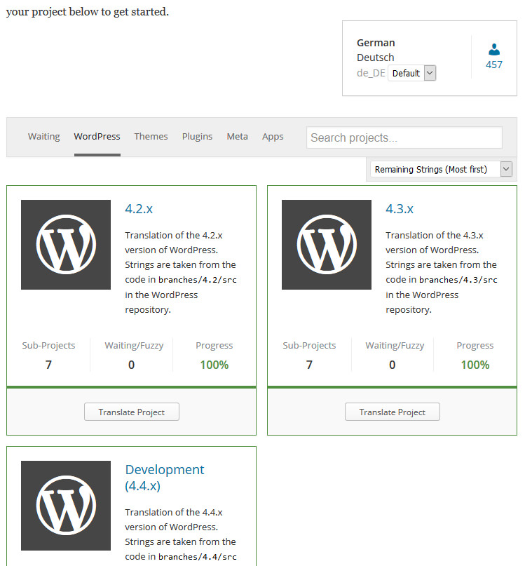 Die Übersicht der verschiedenen WordPress-Versionen (Screenshot: translate.wordpress.org.