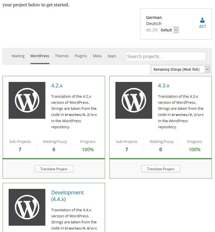 Die Übersicht der verschiedenen WordPress-Versionen (Screenshot: translate.wordpress.org.