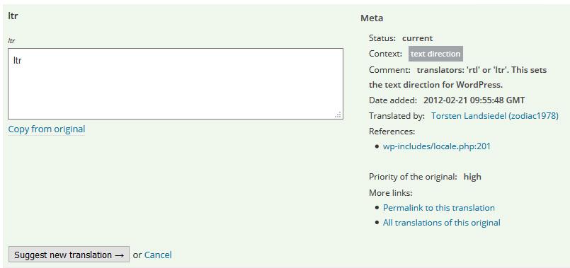 """Übersetzungs-Dialog für """"ltr"""" mit hilfreichen Informationen für die Übersetzer auf der rechten Seite. (Screenshot: translate.wordpress.org)"""