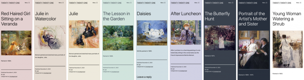 Ansicht der unterschiedlichen Farbvarianten des Themes Twenty Twenty-One.