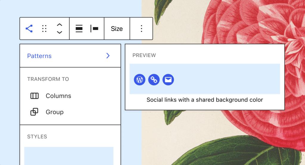 Screenshot des Interfaces zum Umwandeln des Social-Icons-Blocks in die Block-Vorlage, bei der die Icons dieselbe Hintergrundfarbe haben.